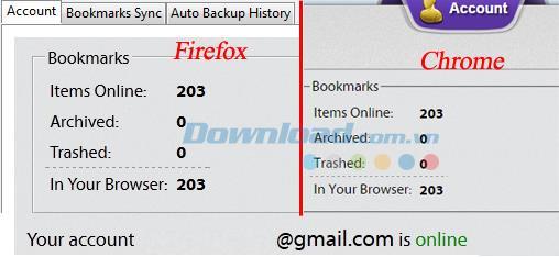 データを同期し、ChromeとFirefoxの間でブックマークを同期します