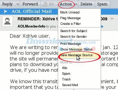 Anweisungen zum Nachschlagen der IP-Adresse des E-Mail-Absenders