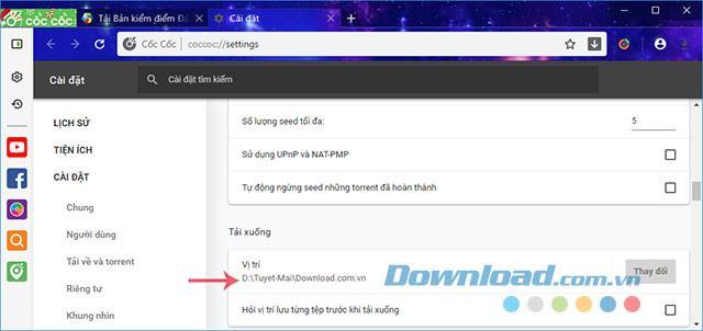 Comment changer le chemin pour enregistrer les fichiers téléchargés sur Coc Coc