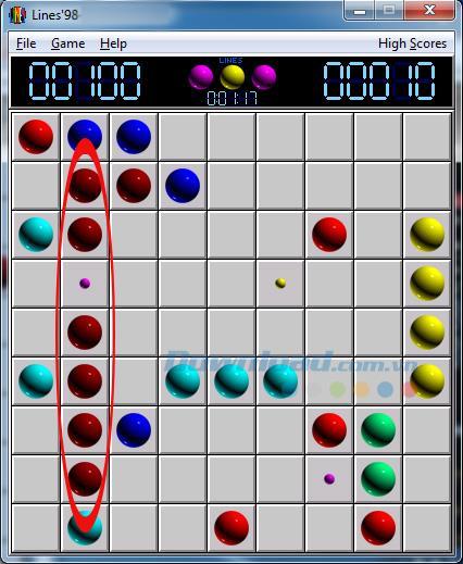 古典的なLines98ゲームのプレイ方法