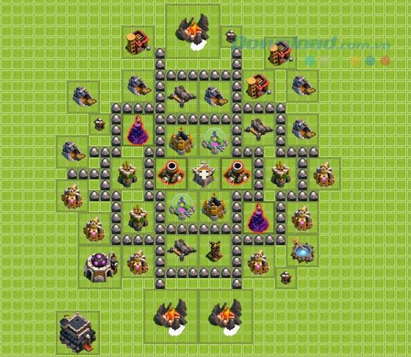 ゲームクラッシュ・オブ・クランに防御銃を配置する方法