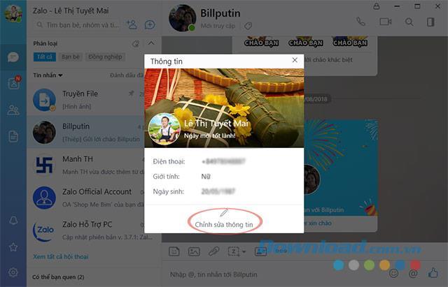 Instructions pour modifier les informations, le nom du compte Zalo