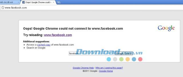 Der Zugriff auf das Web wird durch den Cốc Cốc-Browser blockiert