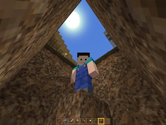 2 Möglichkeiten, um aus einem Loch im Minecraft-Spiel zu springen