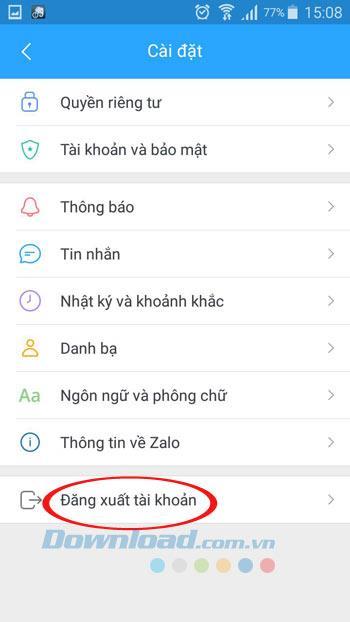 Instructions pour se déconnecter de Zalo, quitter le compte Zalo sur le téléphone