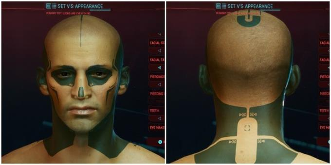 Cyberpunk 2077: Rating of facial tattoos