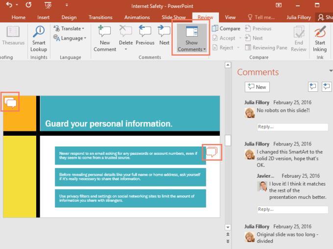 PowerPoint 배우기 - 24단원: 프레젠테이션 버전에 댓글을 달고 비교하는 방법