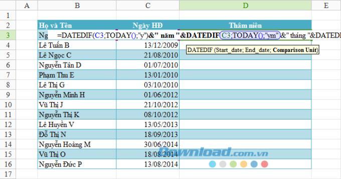 Excelスプレッドシートで年功序列を計算する方法