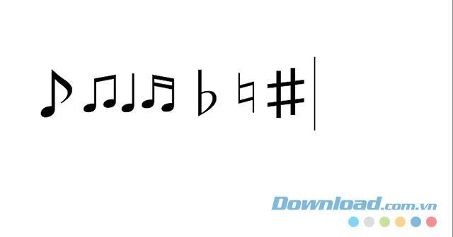 Arahan untuk memasukkan nota muzik dalam Word