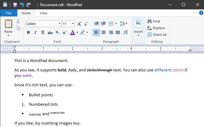 Differences between Notepad and WordPad