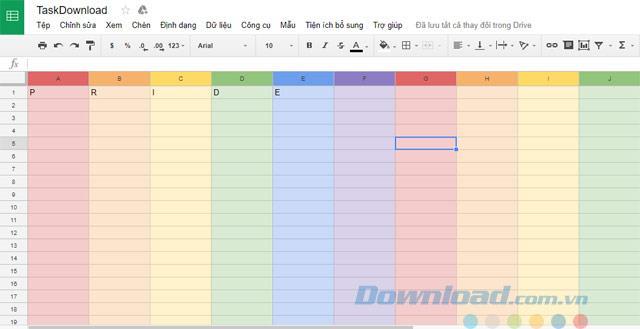 كيفية تحويل جدول بيانات Google إلى قوس قزح ملون