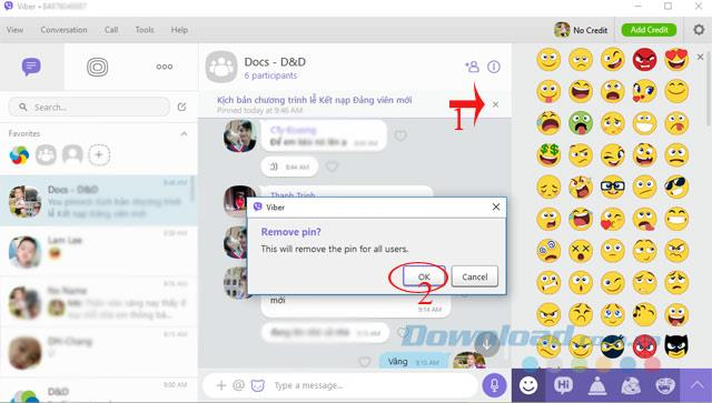 So pinnen Sie Nachrichten in der Viber-Computer-Chat-Gruppe