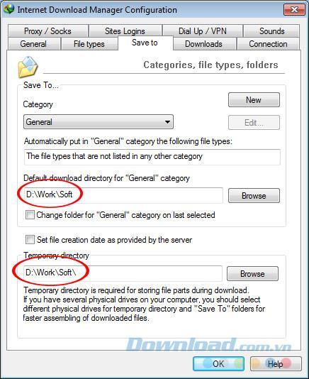 قم بتغيير الموقع لحفظ البيانات التي تم تنزيلها من Internet Download Manager