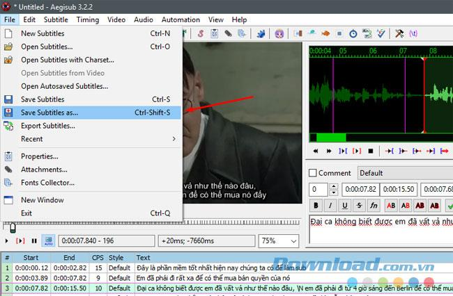 Instructions for using the Aegisub software as subtitles for videos