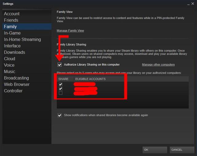 Verwendung der Funktion zum Teilen von Spielbibliotheken bei Steam