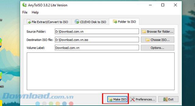 Anweisungen zum Erstellen der schnellsten ISO-Datei mit AnyToISO
