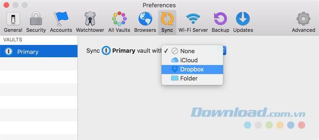 دستورالعمل همگام سازی 1Password با Dropbox