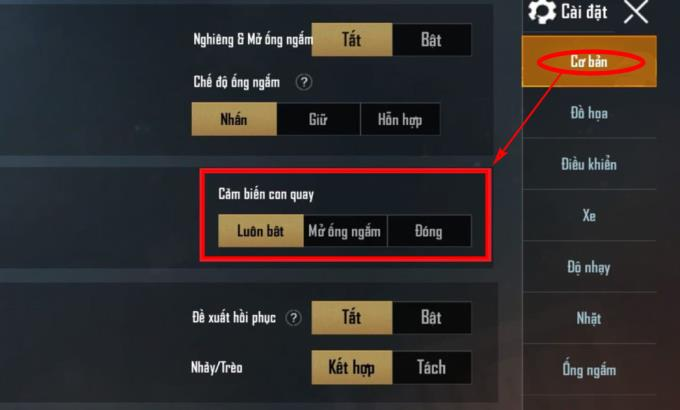 PUBG Mobile: Gyroscope and usage