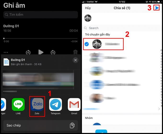 Cara mengirim file audio melalui Zalo di iPhone, ponsel Android