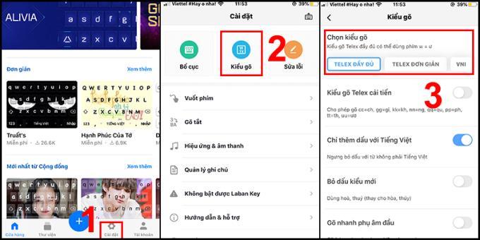 Método de digitação vietnamita acentuado por VNI, Telex no iPhone, iPad