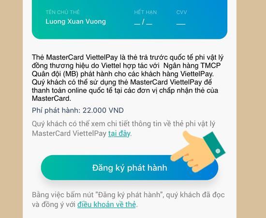 Der schnellste Weg, mit ViettelPay eine MasterCard-Zahlungskarte zu erstellen