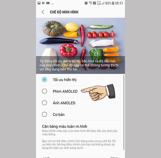 เปลี่ยนโหมดการแสดงผลหน้าจอบน Samsung Galaxy Note FE