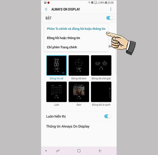 Cài hiển thị  Always On Display trên Samsung Galaxy Note 8
