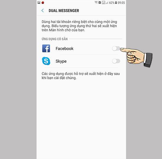 Login 2 Facebook, Zalo accounts on Samsung Galaxy J7 Plus