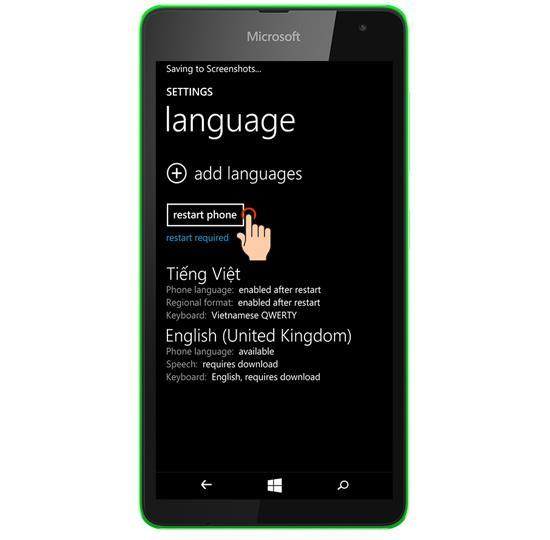 更改 Lumia 535 的語言