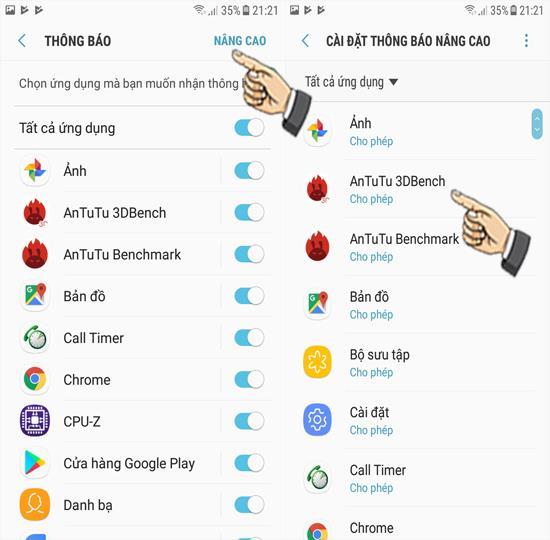 تنظیمات اعلان برای برنامه های Samsung Galaxy J3 Pro