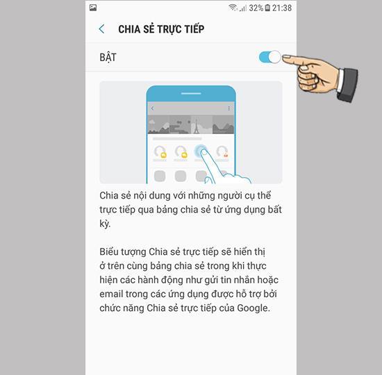 Activer le partage direct sur Samsung Galaxy J3 Pro