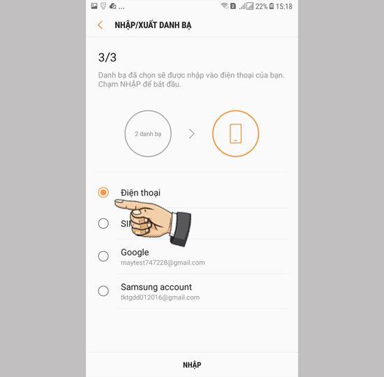 مخاطبین را از سیم کارت در Samsung Galaxy J7 Pro وارد کنید