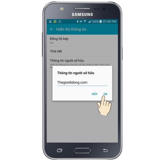 Mostrar informações do proprietário Samsung Galaxy J7