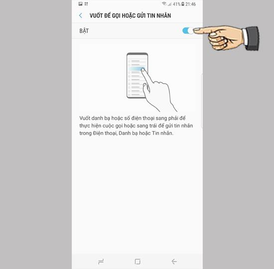 Swipe to call and text on Samsung Galaxy S8 Plus
