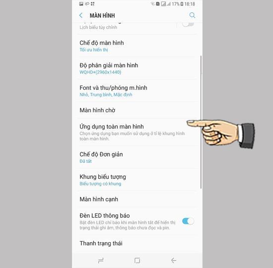 Full screen app mode on Samsung Galaxy S8 Plus