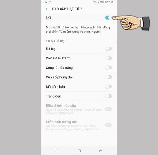 Włącz bezpośredni dostęp w Samsung Galaxy S8 Plus