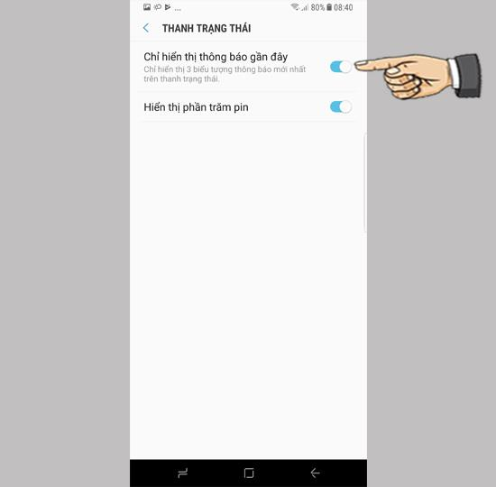 Impostazioni di visualizzazione della barra di stato su Samsung Galaxy S8 Plus