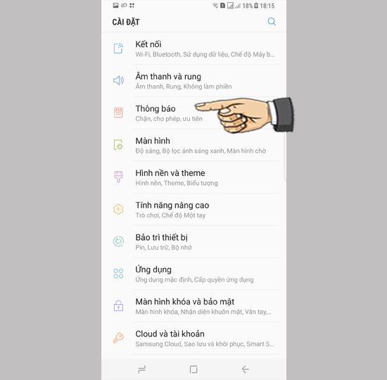 Configurações de notificação para aplicativos no Samsung Galaxy S8 Plus