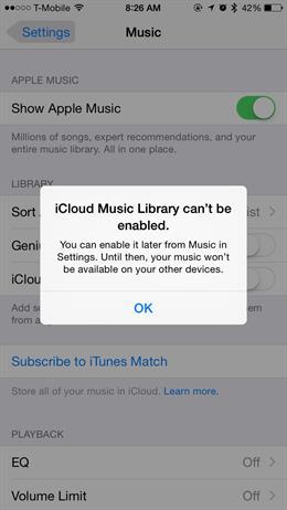 Betulkan Perpustakaan Muzik iCloud tidak dapat diaktifkan pada iOS 8.4