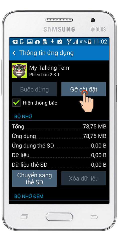 Exclua os aplicativos instalados no Samsung Galaxy Core 2