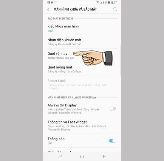 Impostazioni di sicurezza delle impronte digitali su Samsung Galaxy S8 Plus
